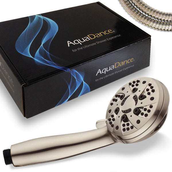 AquaDance® 7212 High Pressure 6-Setting Full Brushed Nickel Handheld Shower with Hose for the Ultimate Shower Experience! Officially Independently Tested to Meet Strict US Quality & Performance Standards!
