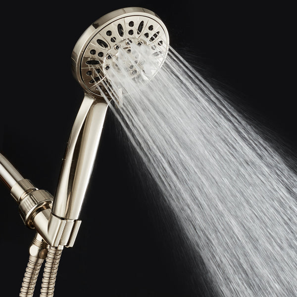 "AquaDance® 7216 High Pressure 6-Setting Full Brushed Nickel 4"" Handheld Shower with Hose for the Ultimate Shower Experience! Officially Independently Tested to Meet Strict US Quality & Performance Standards"
