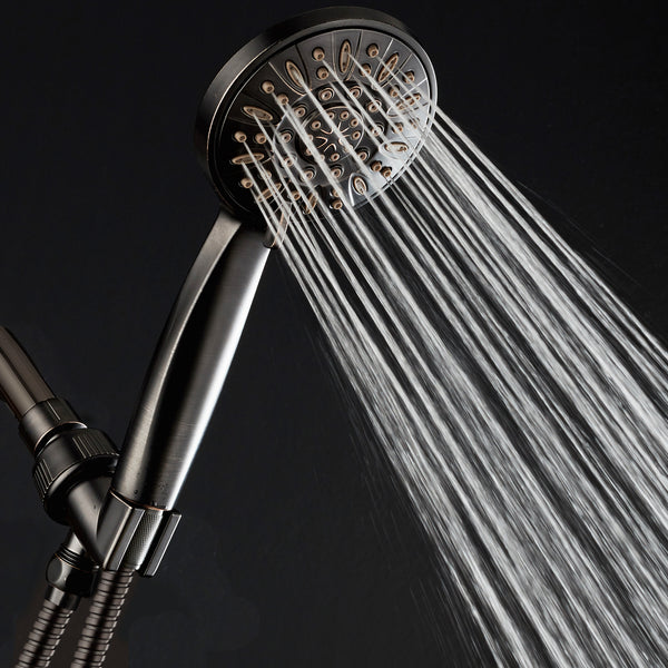 "AquaDance® 7316 High Pressure 6-Setting Oil Rubbed Bronze 4"" Handheld Shower with Hose for the Ultimate Shower Experience! Officially Independently Tested to Meet Strict US Quality & Performance Standards"