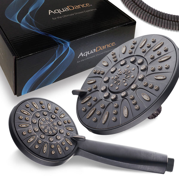 "AquaDance® 7328 7"" Premium High Pressure 3-Way Rainfall Combo for The Best of Both Worlds – Enjoy Luxurious Rain Showerhead and 6-Setting Hand Held Shower Separately or Together – Oil Rubbed Bronze Finish"