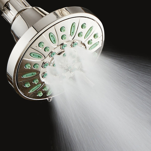 AquaDance® 8205 Antimicrobial/Anti-Clog High-Pressure 6-setting Shower Head, Nozzle Protection from Growth of Mold, Mildew & Bacteria for Stronger Shower! Brushed Nickel Finish/Coral Green Jets