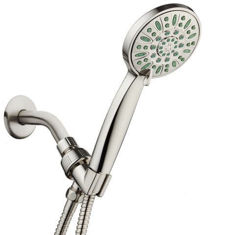 AquaDance® 8216 Antimicrobial/Anti-Clog High-Pressure 6-setting Hand Shower, Nozzle Protection from Growth of Mold, Mildew & Bacteria for Stronger Shower! Brushed Nickel Finish/Coral Green Jets