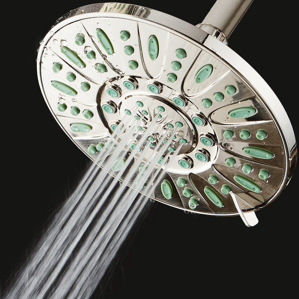AquaDance® 8208 7-inch 6-Setting Rainfall Showerhead with Anti-Microbial Protection from Mold, Mildew, and Bacteria - Clog-Free, Brushed Nickel Finish/Coral Green Jets