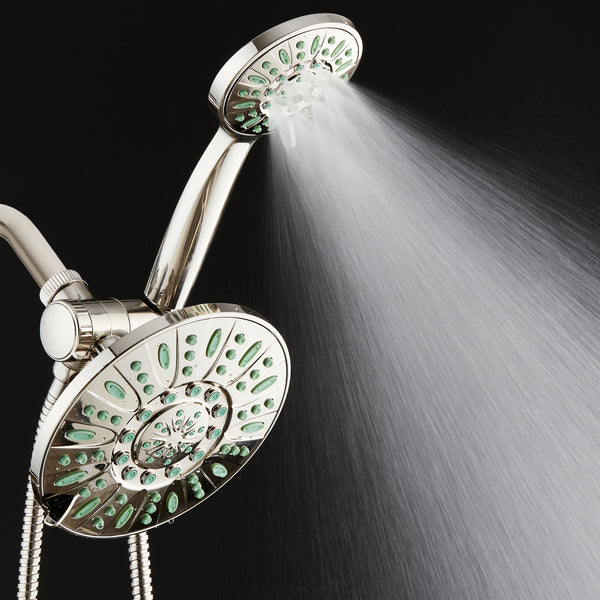 AquaDance® 8228 Antimicrobial/Anti-Clog High-Pressure 30-setting Rainfall Shower Combo, Nozzle Protection from Growth of Mold, Mildew & Bacteria, Brushed Nickel Finish/Coral Green Jets