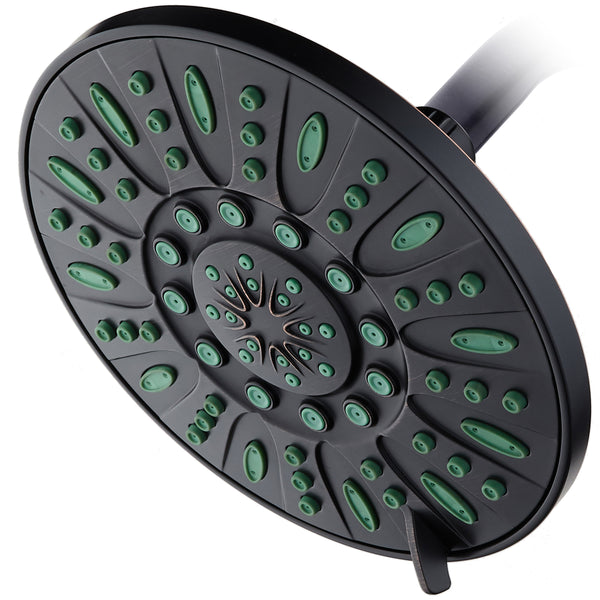 AquaDance® 8308 7-inch 6-Setting Rainfall Showerhead with Anti-Microbial Protection from Mold, Mildew, and Bacteria - Clog-Free, Oil-Rubbed Bronze Finish/Coral Green Jets