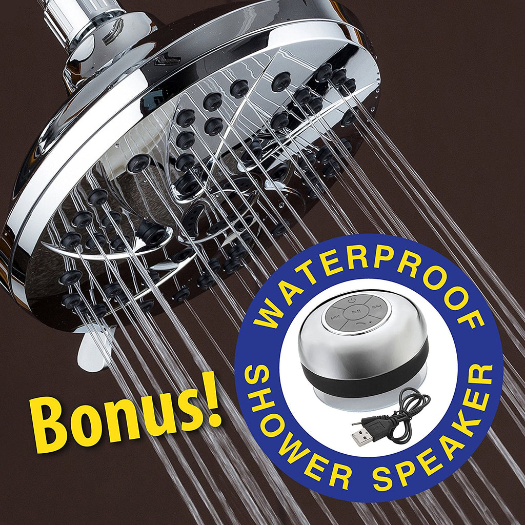 Super Value Pack! AquaDance High Pressure 6-inch / 6-Setting Premium Rain Shower Head Plus HotelSpa Chrome-plated Waterproof Bluetooth Shower Speaker