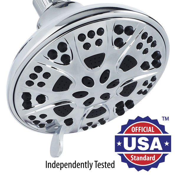 AquaDance® 3306 Premium Shower Head featuring 5-inch Chrome Face and 6 Full Water Spray Settings