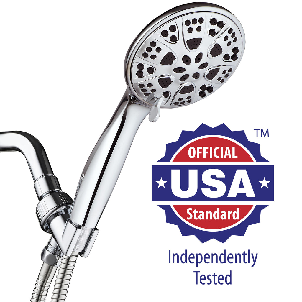 AquaDance® 3317 Giant Premium Handheld Showerhead with Hose featuring 5-inch Chrome Face and 6 Full Water Spray Settings