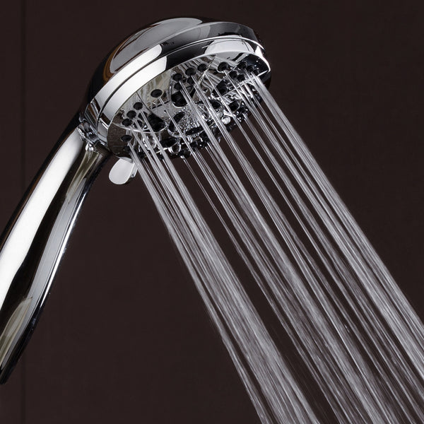 "AquaDance® 3312 High Pressure 6-Setting 3.5"" Chrome Face Handheld Shower with Hose for the Ultimate Shower Experience! Officially Independently Tested to Meet Strict US Quality & Performance Standards!"