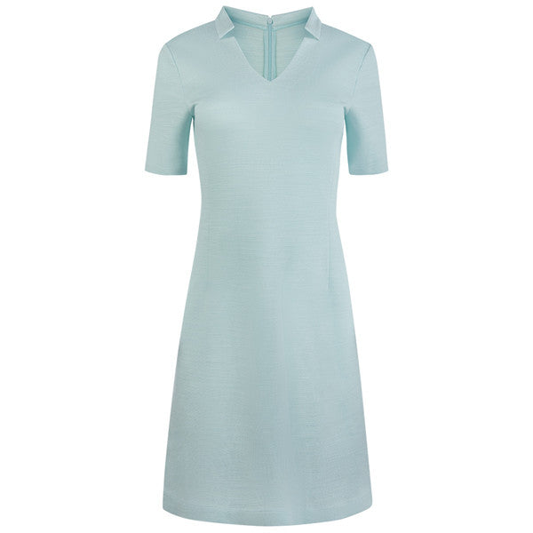 Notch Collar V-Neck Knit Dress in Turquoise