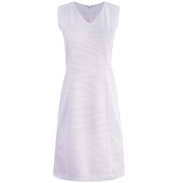 Zebra Stretch Knit Dress in White