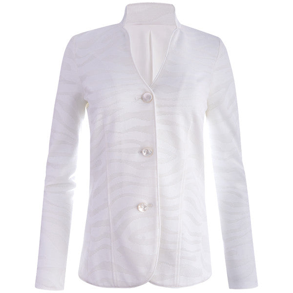 Zebra Stretch Knit Jacket in White