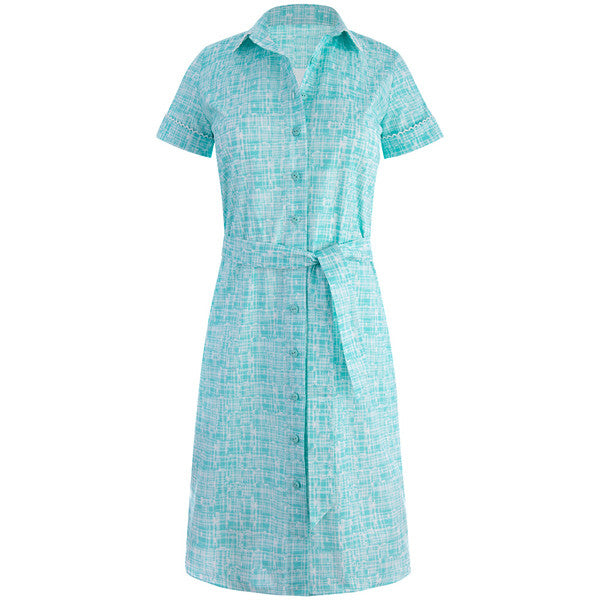 Belted Shirt Dress with Trim in Turquoise Tweed