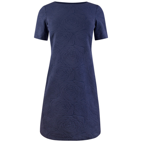 Curved Seaming Knit Dress in Deep Ocean Blue