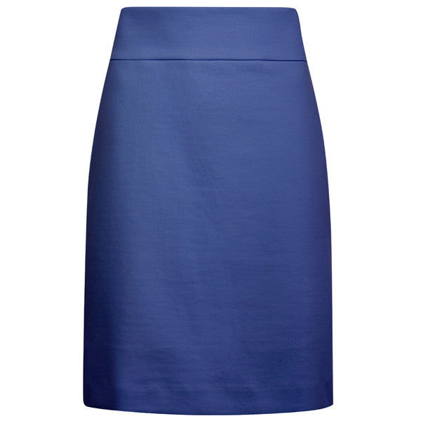 Cotton Knit Pull on Skirt in Deep Ocean Blue