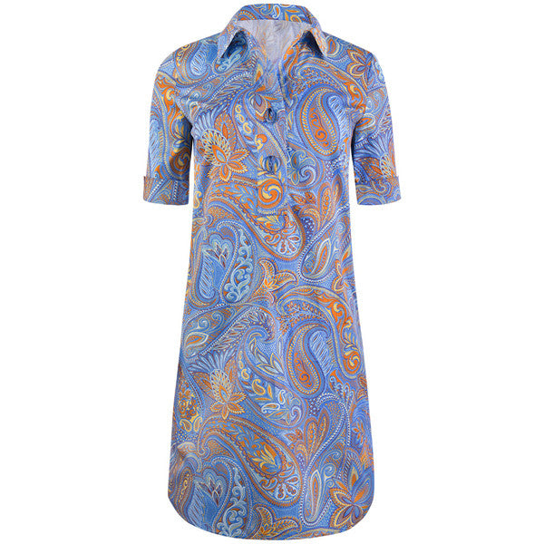 Placket Front Shirt Dress in Periwinkle Paisley