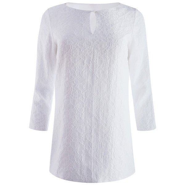Cloque Keyhole Tunic in White