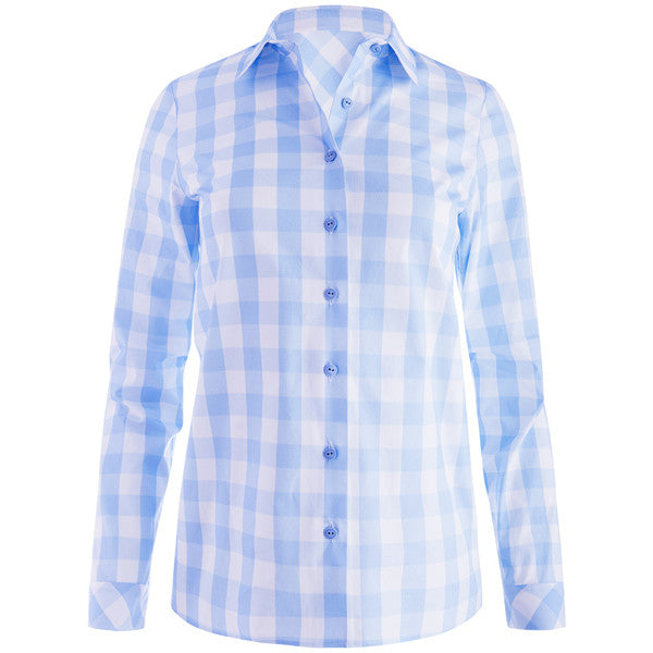 Diagonal Check Blouse in Giorgio Blue Check