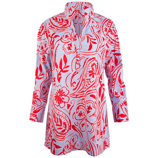 Polo Collar Tunic in Sunset Paisley