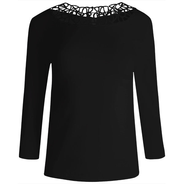 Round Lace Neck Tee in Black