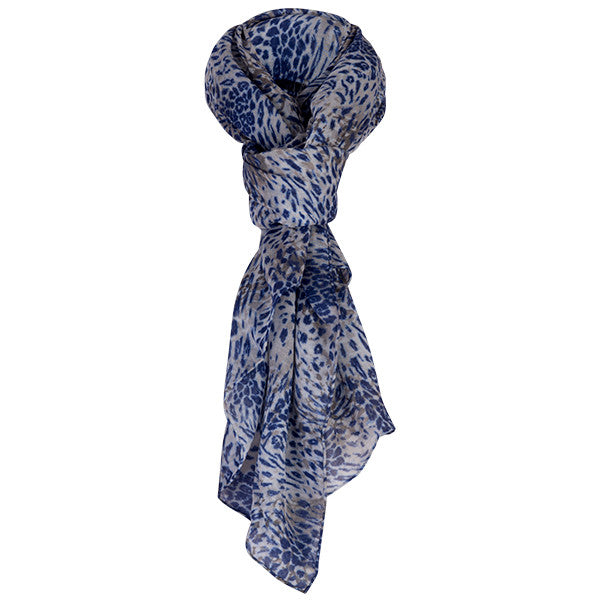 Printed Modal Cashmere Scarf in Leopard Swirl