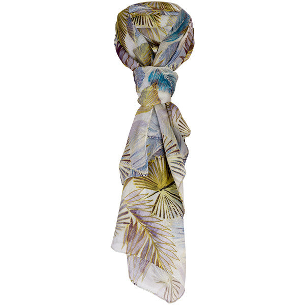 Printed Modal Cashmere Scarf in Majesty Palm