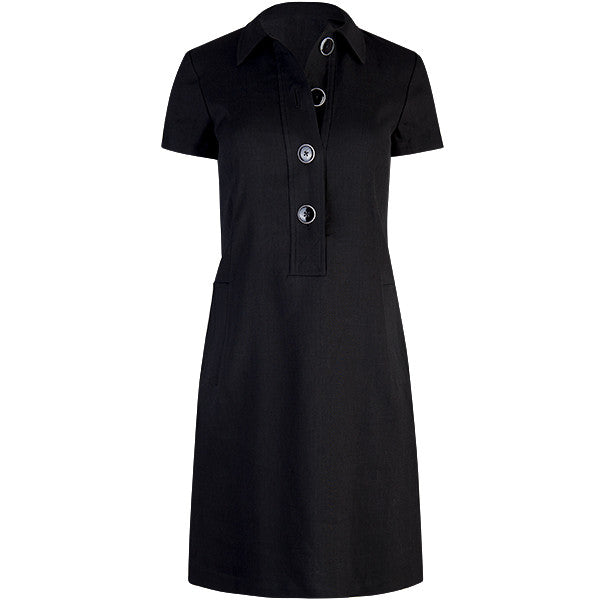 Classic Solid Linen Shirt Dress in Black