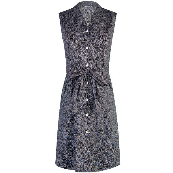 Tie Waist Sleeveless Shirt Dress in Black with White Dot