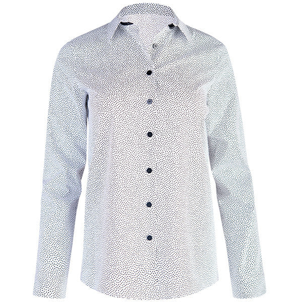 Grosgrain Trim Shirt in White with Black Dot
