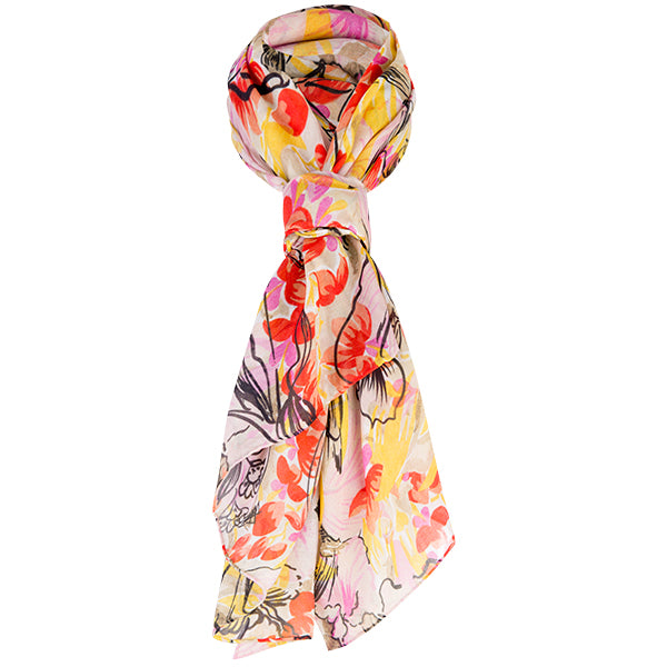 Printed Modal Cashmere Scarf in Tropical Orchids