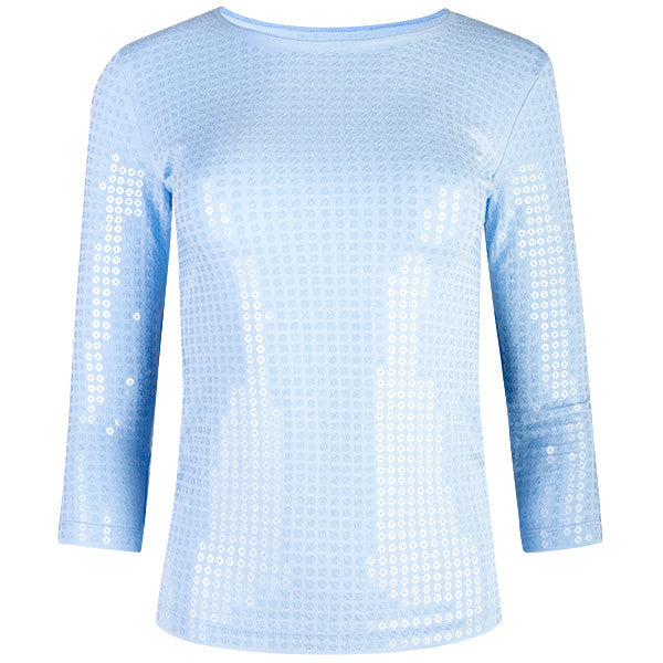 Sequin Shaped Knit Tee in Giorgio Blue