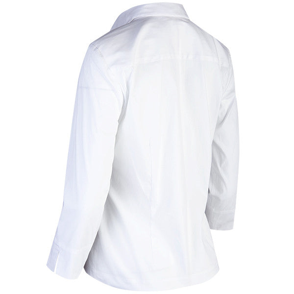 3/4 Sleeve Classic Hidden Placket Shirt in White