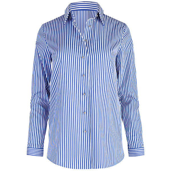 Shirttail Hem Long Sleeve Shirt in Navy/White Stripe