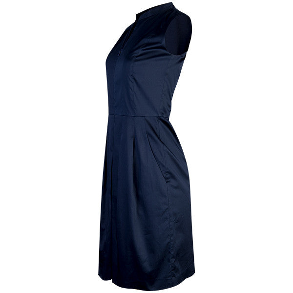 Zip Front Pleated Dress in Navy