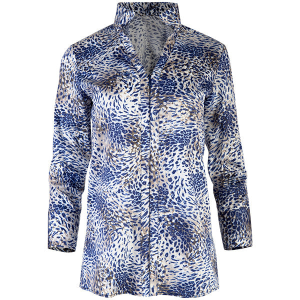 Zip Front V-neck Collar Shirt in Swirl Leopard