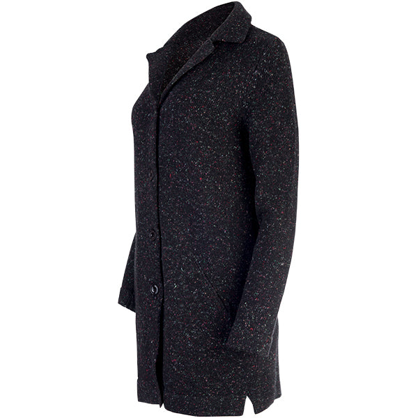 Tweed Cashmere Coat in Speckled Black