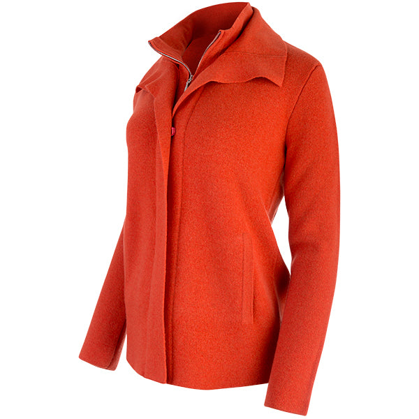 Double Collar Zip Front Cardigan in Burnt Orange