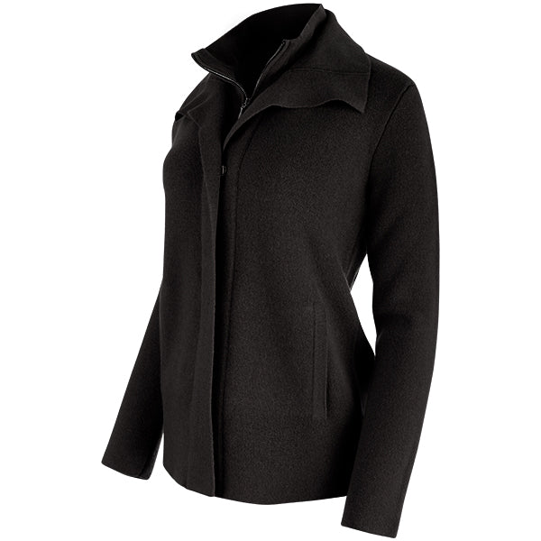 Double Collar Zip Front Cardigan in Black