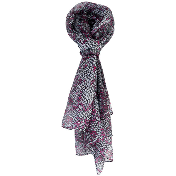 Printed Modal Cashmere Scarf in Fuchsia Snake