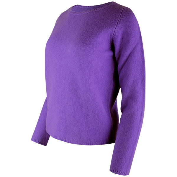 Crewneck Long Sleeve Pullover in Deep Purple