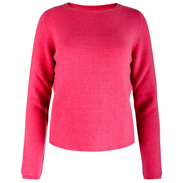 Crewneck Long Sleeve Pullover in Fuxia