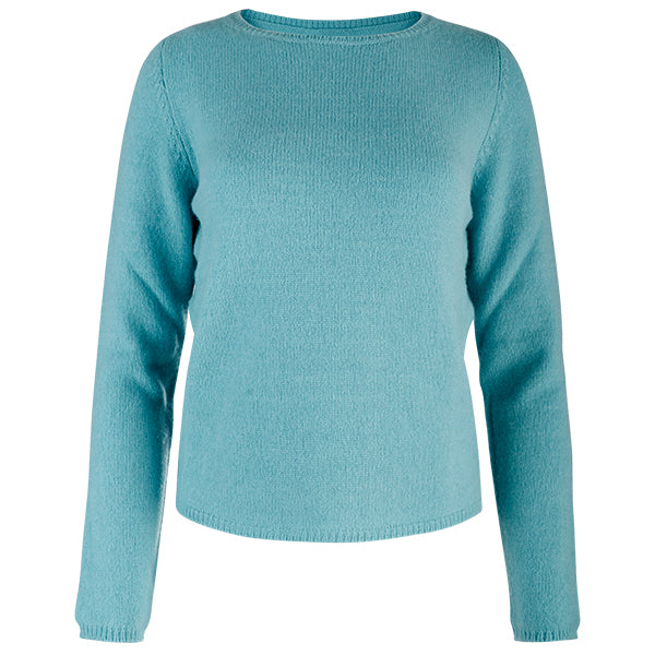 Crewneck Long Sleeve Pullover in Turquoise