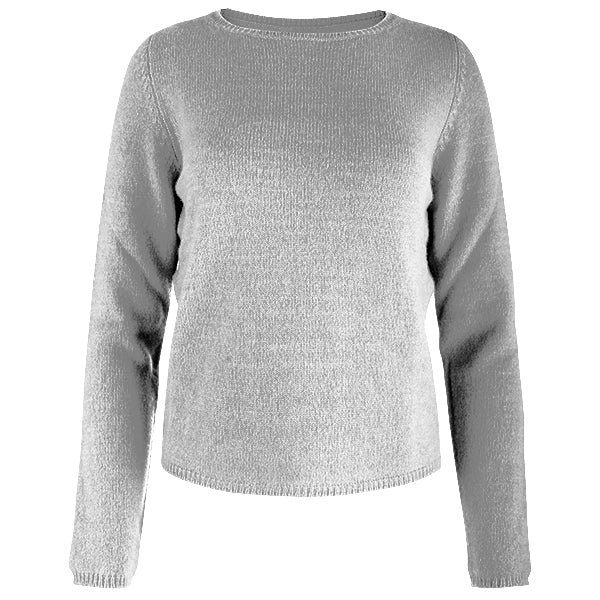 Crewneck Long Sleeve Pullover in Light Grey