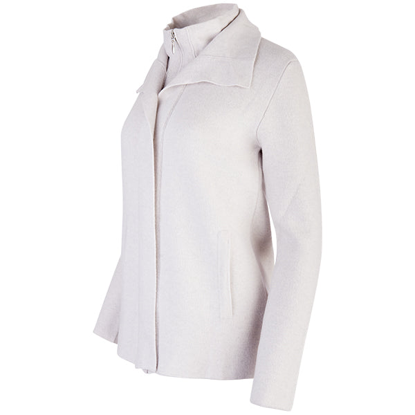 Double Collar Zip Front Cardigan in Alabaster