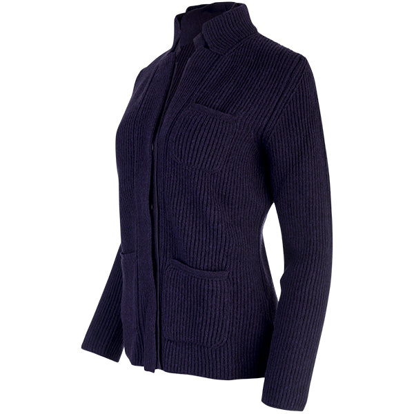 Double Collar Placket Blazer in Navy