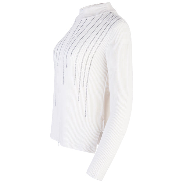 Cashmere Lurex Embellished Cardigan in White