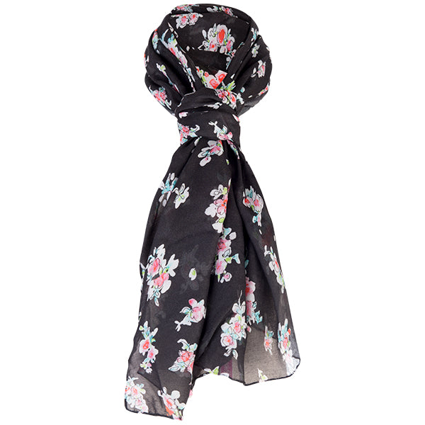 Printed Modal Cashmere Scarf in Apple Blossoms-Black