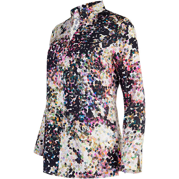 Zip Front High Collar Tunic In Confetti Craze