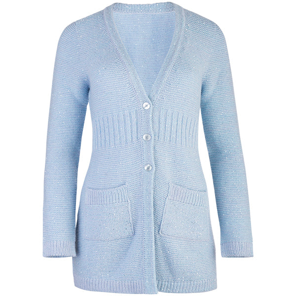 Rib Waist Sequin Long Cardigan in Baby Blue