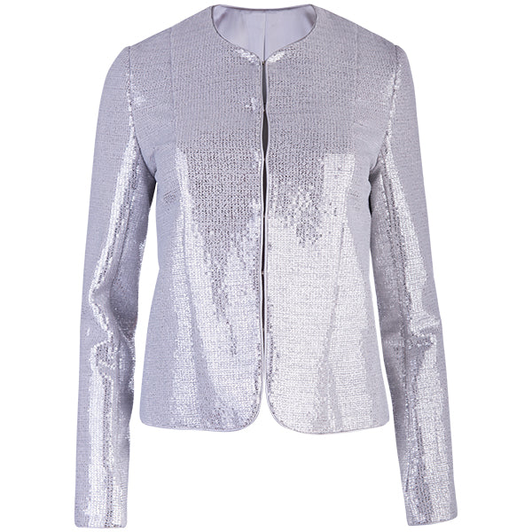 Sequin Princess Shaped Jacket in Silver
